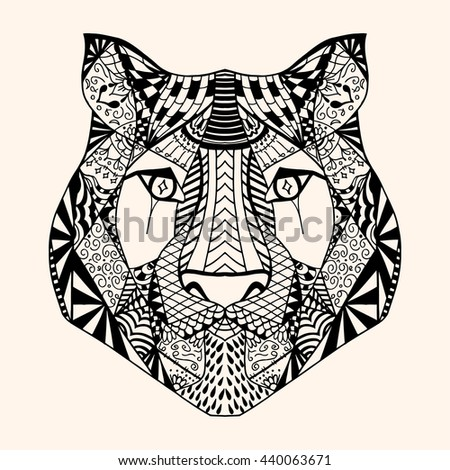 Tiger with abstract pattern. Vector illustration. Hand drawn Doodle artwork. Summer concept for party card, ticket, branding, logo, label. Black, beige color - stock vector
