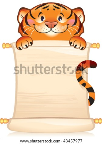 Tiger with scroll - stock vector