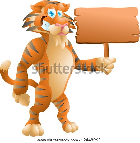 tiger with sign - stock vector