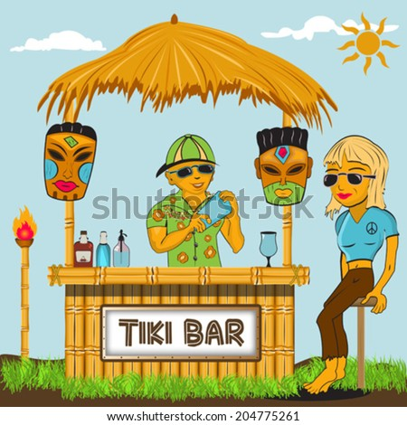 Tiki bar cartoon illustration. - stock vector