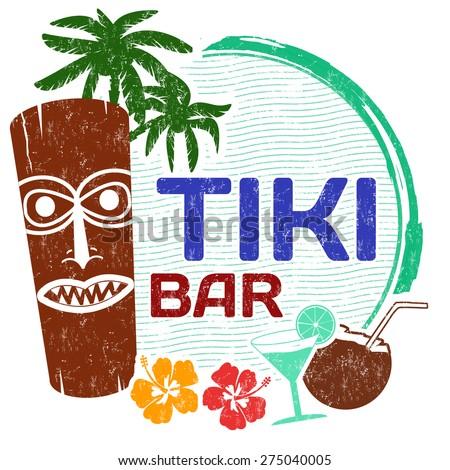 Tiki Bar grunge rubber stamp on white background, vector illustration - stock vector