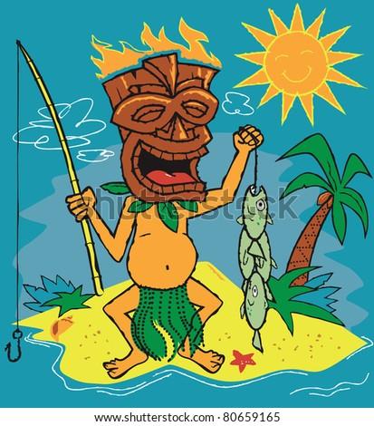 Tiki Fisherman - stock vector