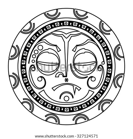 Tiki is human-like figure that represents Polynesian semi-gods. Tiki used  as the Maori amulets and rituals  and in tattoo art. Sacred sign and symbols.Human emotion - indifference. Stock vector.