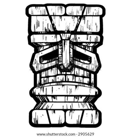 Tiki Pen & Ink Drawing - stock vector