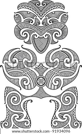 Tiki the first man. Maori style tattoo design. Vector illustration. - stock vector