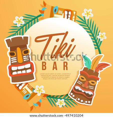 Tiki tribal mask hawaiian elements vector vectores en for Tiki hawaiano