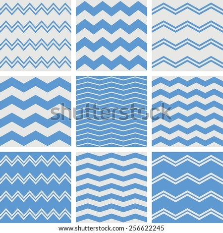 Tile chevron vector pattern set with sailor blue and grey zig zag background - stock vector