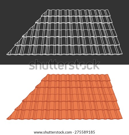 Tile element of roof - stock vector