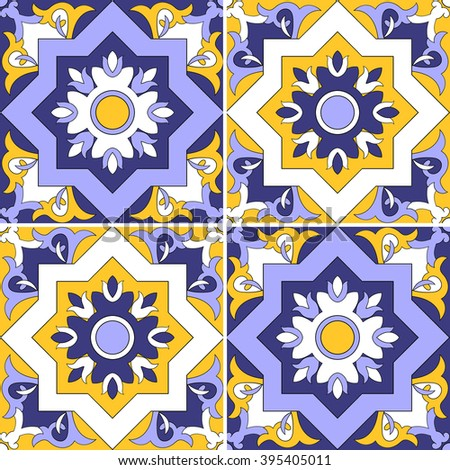 Tile pattern vector seamless with flowers motifs. Azulejo, portuguese tiles, spanish, moroccan, turkish or arabic tiles design. Tiled print for wrapping, background or ceramic. - stock vector