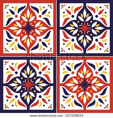 Tile Pattern Vector Seamless With Flowers Motifs Azulejo Portuguese Tiles Spanish Moroccan
