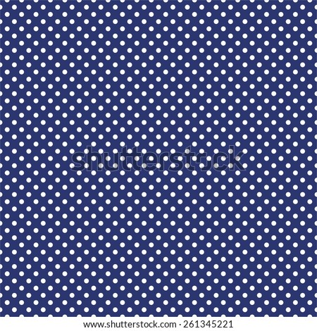 Tile pattern with white polka dots on dark blue background - stock vector