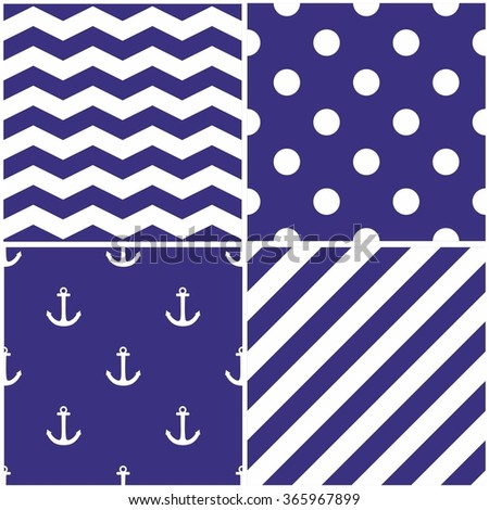 Tile sailor vector pattern set with white anchor, polka dots, zig zag and stripes on navy blue background