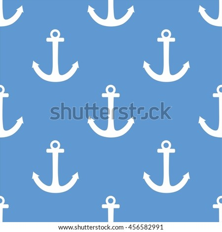 Tile sailor vector pattern with white anchor on pastel blue background
