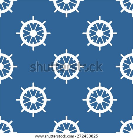 Tile sailor vector pattern with white rudder on navy blue background - stock vector