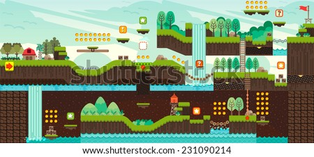 Tile Set Platform Game Seamless Vector Stock Vector 231090214 ...