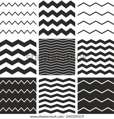 Tile vector chevron pattern set with black zig zag on white background  - stock vector