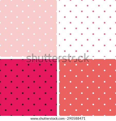 Tile vector pattern set with polka dots on pastel pink and white background - stock vector