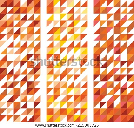 Tile vector pattern set with white, red, yellow, orange and brown triangle mosaic background - stock vector
