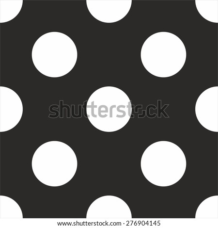 Tile vector pattern with big white polka dots on black background - stock vector