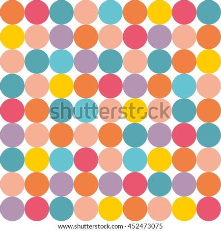Tile vector pattern with pastel colorful polka dots on white background