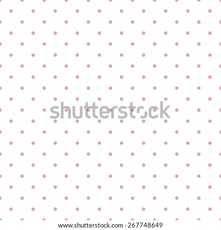 Tile vector pattern with pink polka dots on white background  - stock vector