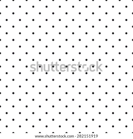 Tile vector pattern with small black polka dots on white background - stock vector