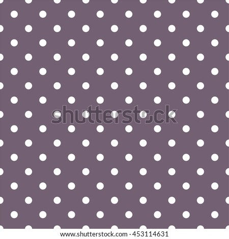 Tile vector pattern with white polka dots on dark violet background