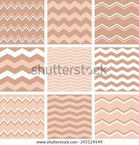 Tile vector pink, pastel brown and white pattern set with zig zag background  - stock vector