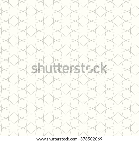 Tileable creative recurring light beige color with small black curvy intricate subtle ribbon thread. Retro classic trendy fabric art coptic style hexagonal shape form template fond surface design - stock vector