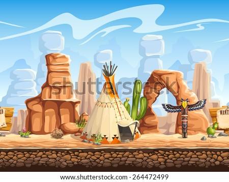 Tileable horizontal background wild west. Set3 - stock vector