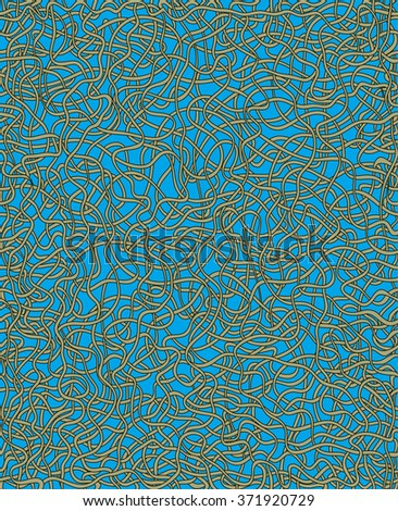 Tileable recurring confuse op twisty shape with thin grey squiggly curvy cord cable with intricate nodes. Trendy cute ink hand sketchy art uneven curly knitting form template fond pen on paper surface - stock vector
