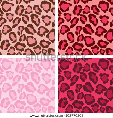 Tiling Pink Leopard Patterns - stock vector