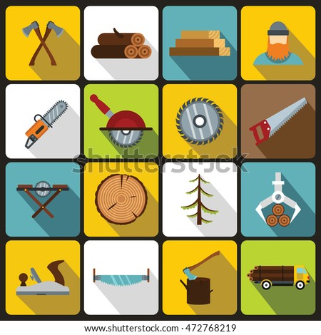 Timber industry icons set in flat style. Lumberjack equipment set collection vector illustration
