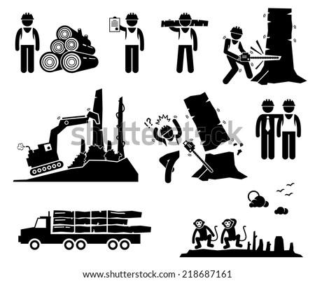 Timber Logging Worker Deforestation Stick Figure Pictogram Icons - stock vector