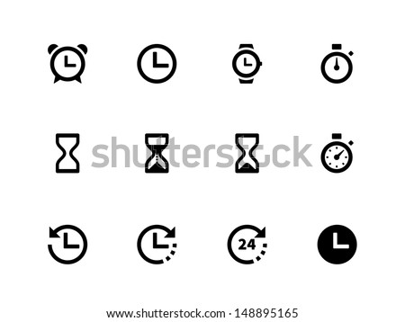 Time and Clock icons on white background. Vector illustration. - stock vector