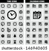 Time and date icons - stock vector