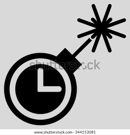 Time Bomb vector icon. Style is flat symbol, black color, rounded angles, light gray background. - stock vector