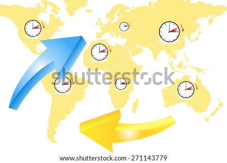 time change in the world  - stock vector