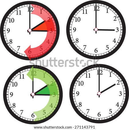 time change set  - stock vector