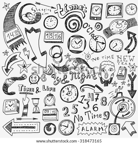 time clock doodles - stock vector