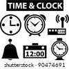 time & clock icons set, signs, vector illustration - stock vector
