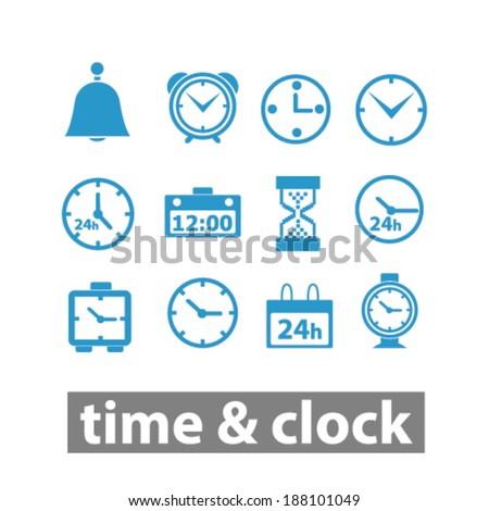 time, clock icons set, vector - stock vector