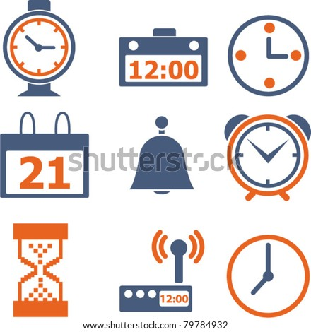 time & clock icons, signs, vector illustrations - stock vector