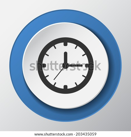 time, clock paper icon with shadow. Vector illustrations.