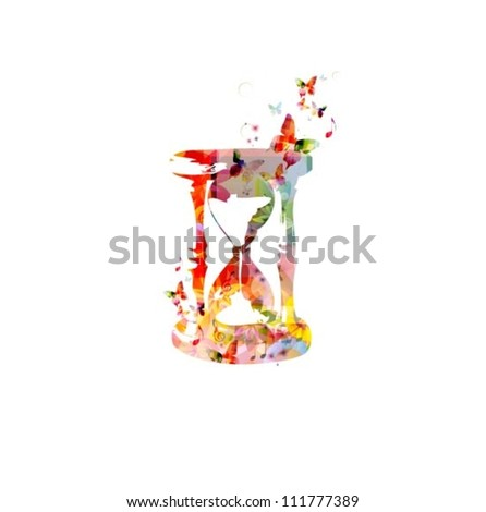 Time concept background with hourglass - stock vector