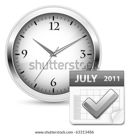 Time concept. Clock and calendar. Vector illustration. - stock vector