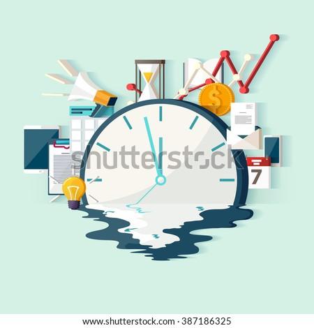 Time concept. Flat design.  - stock vector