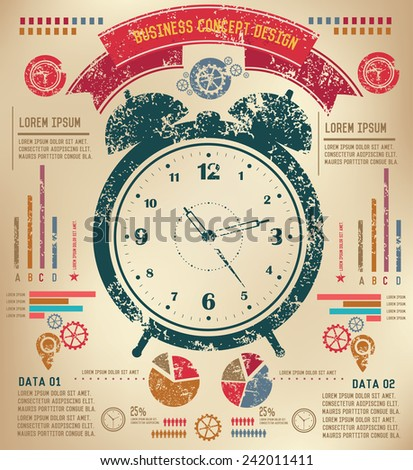 Time concept  info graphic design on old paper,grunge vector - stock vector