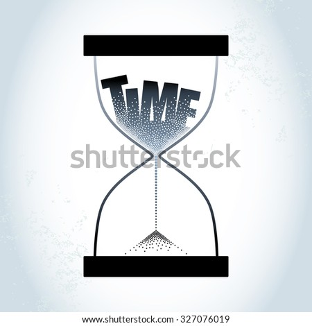 Time concept with hourglass and decreasing sand on the textured gray background - stock vector