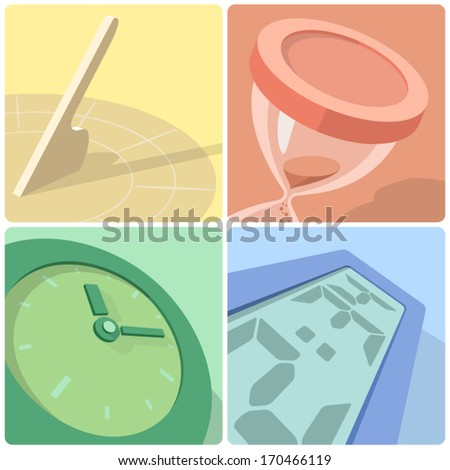 Time evolution icons - stock vector